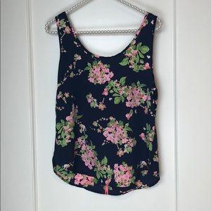 Bjewel Pink Navy Floral Print Neon Zip Top